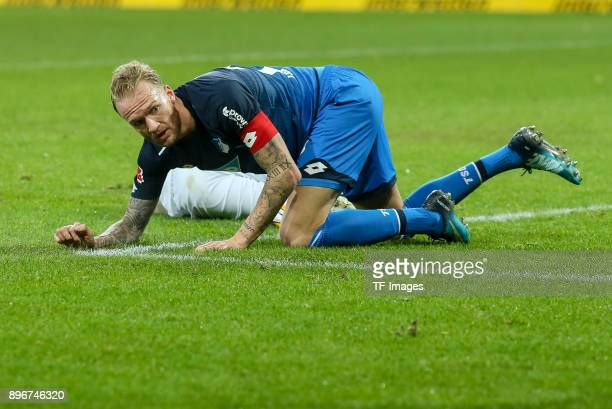 Kevin Vogt of Hoffenheim on the ground during the Bundesliga match between TSG 1899 Hoffenheim and VfB Stuttgart at Wirsol RheinNeckarArena on...