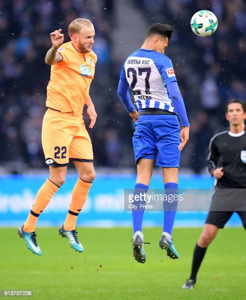 Kevin Vogt of the TSG 1899 Hoffenheim and Davie Selke of Hertha BSC during the game between Hertha BSC and TSG Hoffenheim on february 3 2018 in...