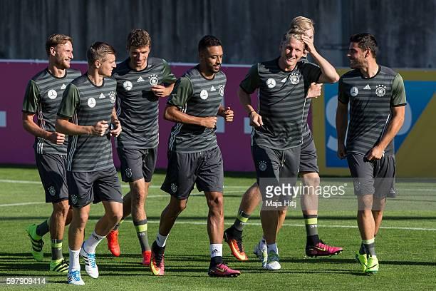 Kevin Volland Bastian Schweinsteiger Julian Brandt Karim Bellarabi Thomas Mueller Toni Kroos and Benedikt Hoewedes of Germany during a Germany...