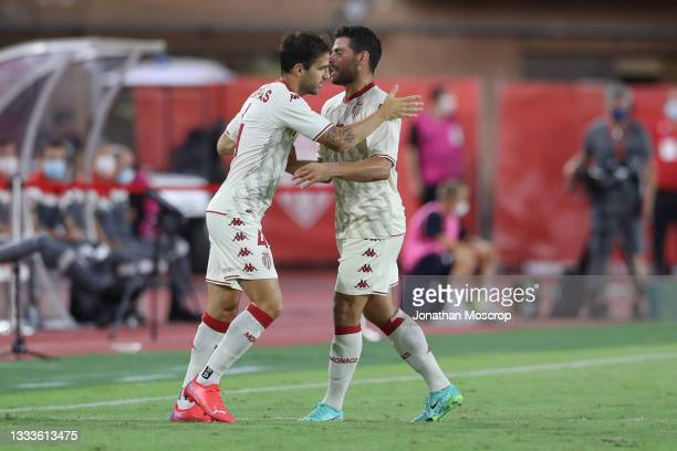 Kevin Volland of AS Monaco is substituted for Cesc Fabregas during the UEFA Champions League Third Qualifying Round 2nd Leg match between Monaco and...