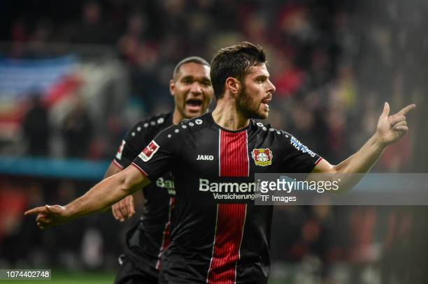 Kevin Volland of Bayer 04 Leverkusen celebrates after scoring his team's first goal during the Bundesliga match between Bayer 04 Leverkusen and VfB...
