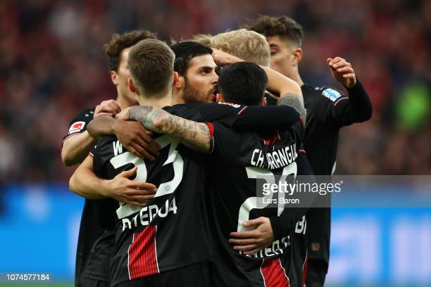 Kevin Volland of Bayer 04 Leverkusen celebrates after scoring his team's first goal with his team mates during the Bundesliga match between Bayer 04...