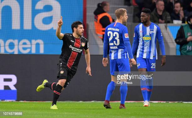 Kevin Volland of Bayer 04 Leverkusen celebrates after scoring the 10 during the Bundesliga match between Bayer 04 Leverkusen and Hertha BSC at the...