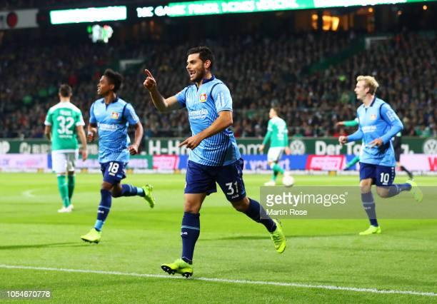 Kevin Volland of Bayer 04 Leverkusen celebrates scoring his sides first goal during the Bundesliga match between SV Werder Bremen and Bayer 04...