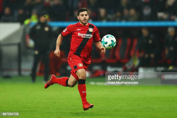 Kevin Volland of Bayer 04 Leverkusen in action during the Bundesliga match between Bayer 04 Leverkusen and Borussia Dortmund at BayArena on December...