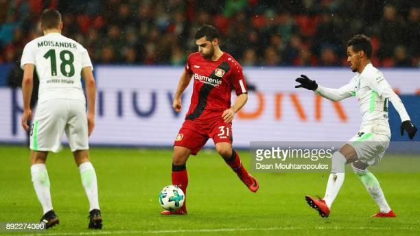 Kevin Volland of Bayer 04 Leverkusen in action during the Bundesliga match between Bayer 04 Leverkusen and SV Werder Bremen at BayArena on December...