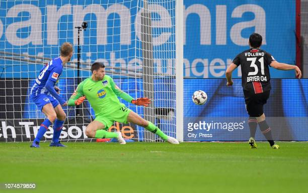 Kevin Volland of Bayer 04 Leverkusen scores the 10 during the Bundesliga match between Bayer 04 Leverkusen and Hertha BSC at the BayArena on december...