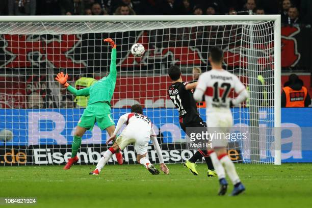 Kevin Volland of Bayer 04 Leverkusen shoots and scores the second goal of the game past Goalkeeper Lukas Hradecky of VfB Stuttgart during the...