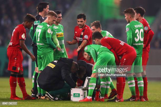 Kevin Volland of Bayer 04 Leverkusen speaks after he fouls Matthias Ginter of Borussia Monchengladbach during the DFBPokal match between Borussia...