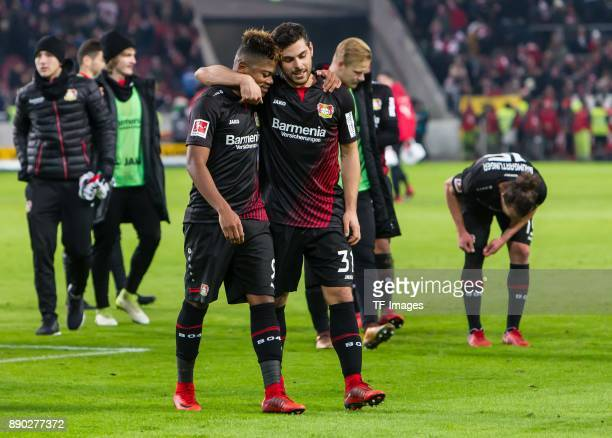 Kevin Volland of Bayer Leverkusen and Leon Bailey of Bayer Leverkusen celebrate after winning the Bundesliga match between VfB Stuttgart and Bayer 04...