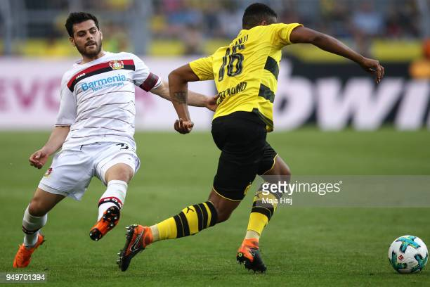 Kevin Volland of Bayer Leverkusen and Manuel Akanji of Borussia Dortmund battle for the ball during the Bundesliga match between Borussia Dortmund...