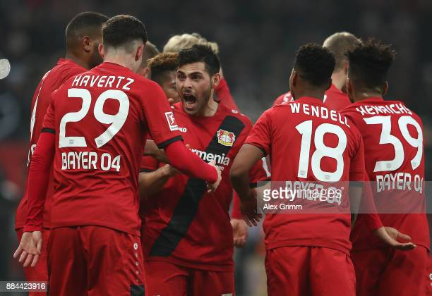 Kevin Volland of Bayer Leverkusen celebrates after he scored a goal to make it 10 during the Bundesliga match between Bayer 04 Leverkusen and...