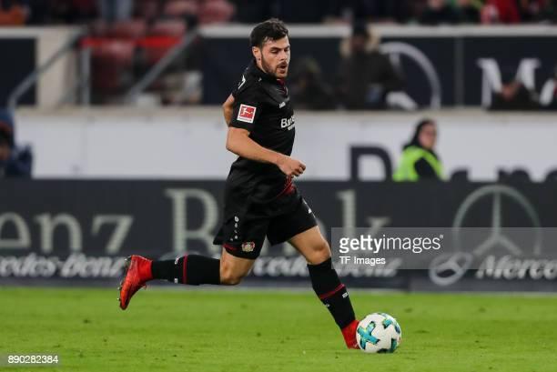 Kevin Volland of Bayer Leverkusen controls the ball during the Bundesliga match between VfB Stuttgart and Bayer 04 Leverkusen at MercedesBenz Arena...