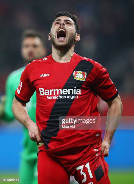 Kevin Volland of Bayer Leverkusen reacts after a missed chance during the Bundesliga match between Bayer 04 Leverkusen and FC Bayern Muenchen at...