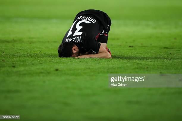 Kevin Volland of Bayer Leverkusen reacts during the Bundesliga match between VfB Stuttgart and Bayer 04 Leverkusen at MercedesBenz Arena on December...