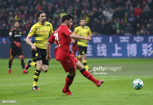 Kevin Volland of Bayer Leverkusen scores a goal to make it 10 during the Bundesliga match between Bayer 04 Leverkusen and Borussia Dortmund at...