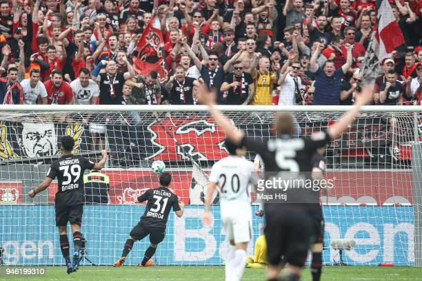 Kevin Volland of Bayer Leverkusen scores his teams forth goal to make it 41 during the Bundesliga match between Bayer 04 Leverkusen and Eintracht...