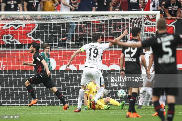 Kevin Volland of Bayer Leverkusen scores his teams second goal to make it 21 during the Bundesliga match between Bayer 04 Leverkusen and Eintracht...