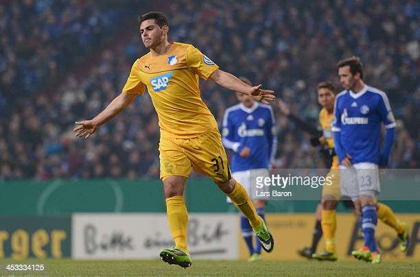 Kevin Volland of Hoffenheim celebrates after scoring his teams second goal during the DFB Cup round of 16 match between FC Schalke 04 and 1899...