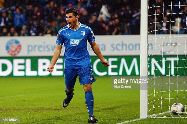 Kevin Volland of Hoffenheim celebrates his team's second goal during the Bundesliga match between 1899 Hoffenheim and VfB Stuttgart on February 15...