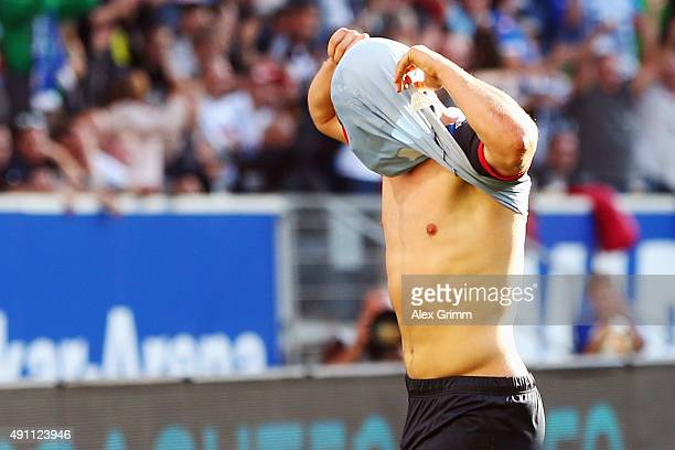 Kevin Volland of Hoffenheim celebrates his team's second goal during the Bundesliga match between 1899 Hoffenheim and VfB Stuttgart at Wirsol...