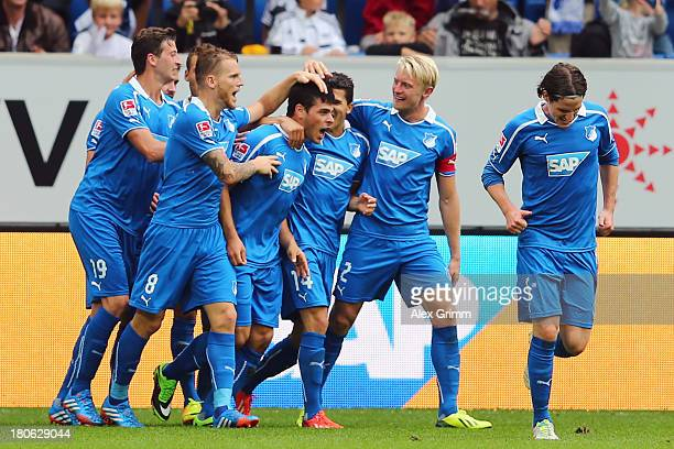 Kevin Volland of Hoffenheim celebrates his team's second goal with team mates during the Bundesliga match between 1899 Hoffenheim and Borussia...