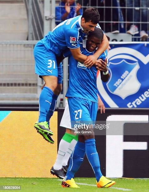 Kevin Volland of Hoffenheim celebrates his team's second goal with team mate Anthony Modeste during the Bundesliga match between 1899 Hoffenheim and...