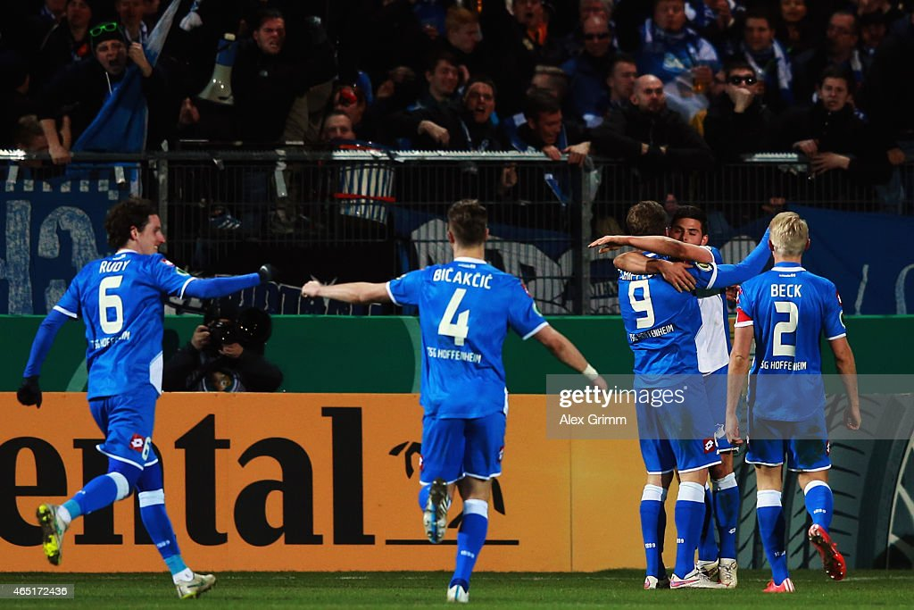 Kevin Volland (2R) of Hoffenheim celebrates his team's second goal with team mates during the DFB Cup Round of 16 match between VfR Aalen and 1899 Hoffenheim at Scholz Arena on March 3, 2015 in Aalen, Germany.