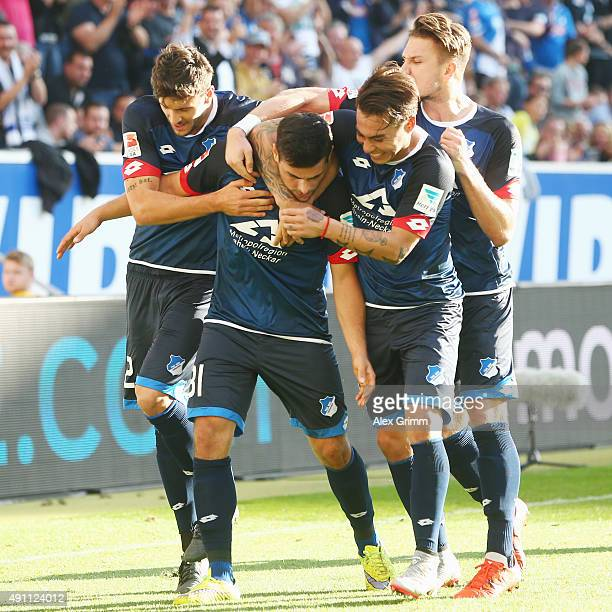 Kevin Volland of Hoffenheim celebrates his team's second goal with team mates Tobias Strobl Ermin Bicakcic and Eduardo Vargas during the Bundesliga...
