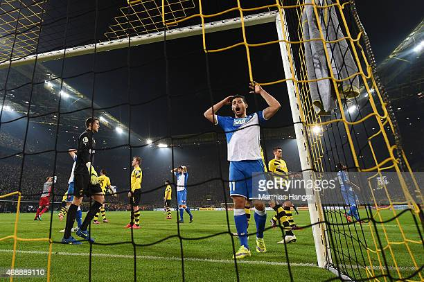 Kevin Volland of Hoffenheim reacts during the DFB Cup Quarter Final match between Borussia Dortmund and 1899 Hoffenheim at Signal Iduna Park on April...