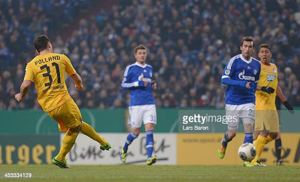 Kevin Volland of Hoffenheim scores his teams second goal during the DFB Cup round of 16 match between FC Schalke 04 and 1899 Hoffenheim at...