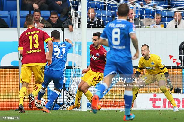 Kevin Volland of Hoffenheim scores the opening goal during the Bundesliga match between TSV 1899 Hoffenheim and SC Paderborn 07 at Wirsol...