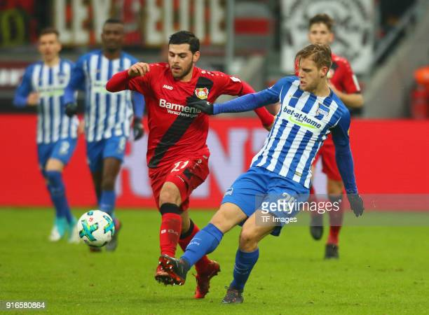 Kevin Volland of Leverkusen and Arne Maier of Hertha battle for the ball during the Bundesliga match between Bayer 04 Leverkusen and Hertha BSC at...