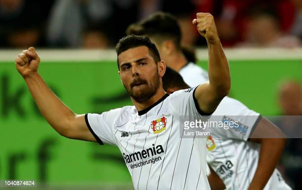 Kevin Volland of Leverkusen celebrates after he scores the opening goal during the Bundesliga match between Fortuna Duesseldorf and Bayer 04...