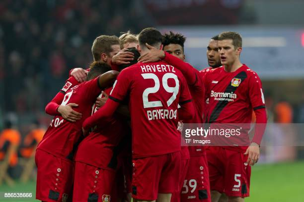 Kevin Volland of Leverkusen celebrates after scoring his team`s first goal with team mates during the Bundesliga match between Bayer 04 Leverkusen...