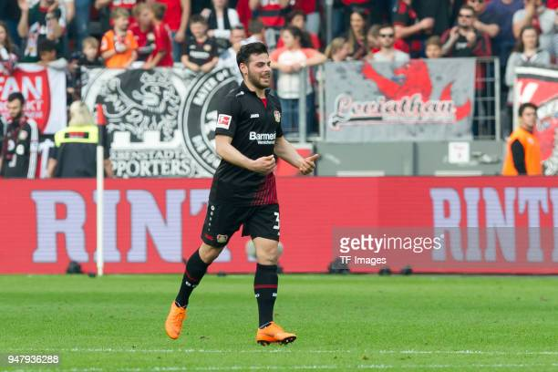 Kevin Volland of Leverkusen celebrates after scoring his team`s fourth goal during the Bundesliga match between Bayer 04 Leverkusen and Eintracht...