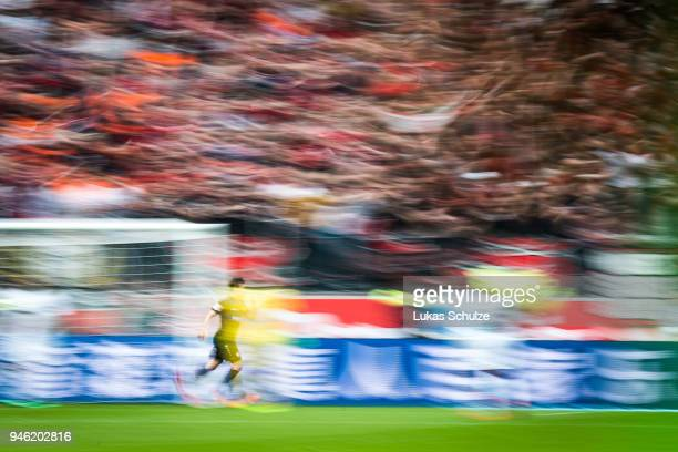 Kevin Volland of Leverkusen celebrates his teams second goal during the Bundesliga match between Bayer 04 Leverkusen and Eintracht Frankfurt at...