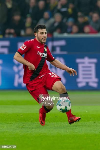 Kevin Volland of Leverkusen controls the ball during the Bundesliga match between Bayer 04 Leverkusen and Borussia Dortmund at BayArena on December 2...