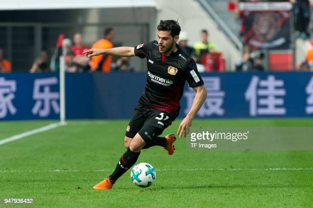 Kevin Volland of Leverkusen controls the ball during the Bundesliga match between Bayer 04 Leverkusen and Eintracht Frankfurt at BayArena on April 14...