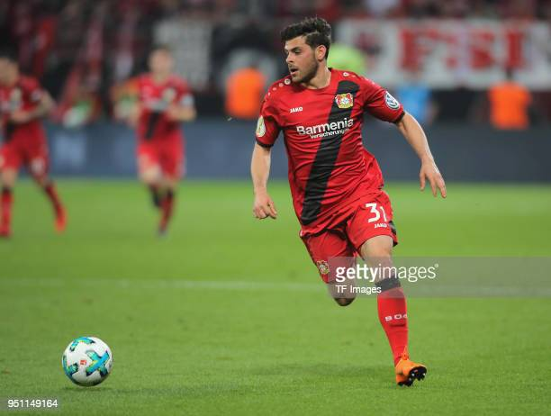 Kevin Volland of Leverkusen controls the ball during the DFB Cup semi final match between Bayer 04 Leverkusen and Bayern Munchen at BayArena on April...