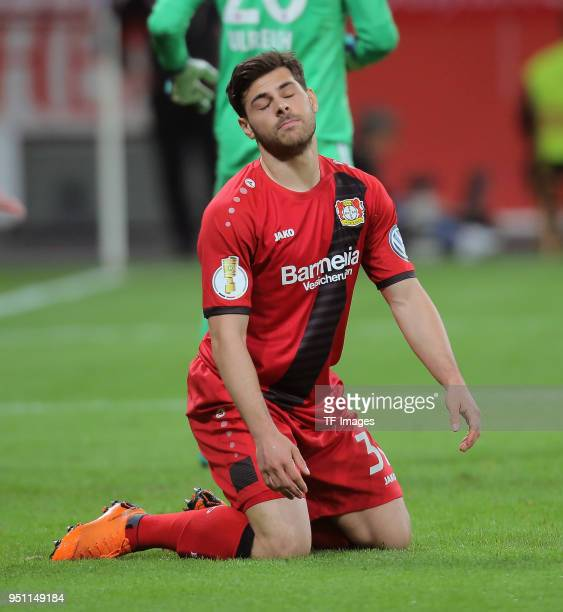 Kevin Volland of Leverkusen looks dejected during the DFB Cup semi final match between Bayer 04 Leverkusen and Bayern Munchen at BayArena on April 17...