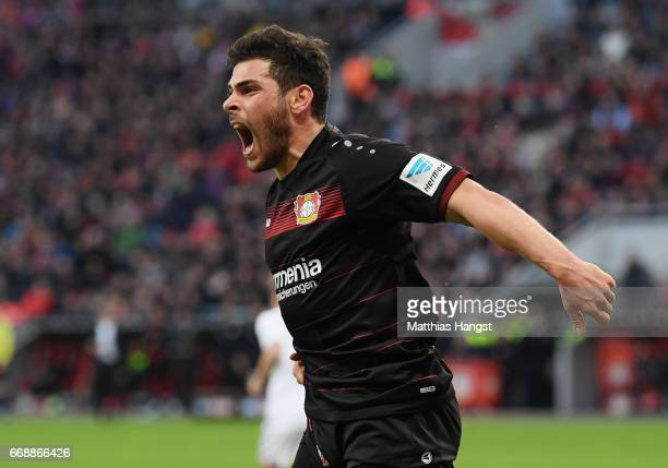 Kevin Volland of Leverkusen reacts during the Bundesliga match between Bayer 04 Leverkusen and Bayern Muenchen at BayArena on April 15 2017 in...