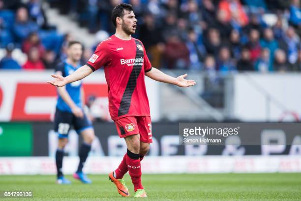 Kevin Volland of Leverkusen reacts during the Bundesliga match between TSG 1899 Hoffenheim and Bayer 04 Leverkusen at Wirsol RheinNeckarArena on...