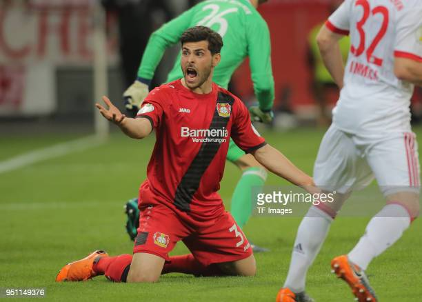 Kevin Volland of Leverkusen reacts during the DFB Cup semi final match between Bayer 04 Leverkusen and Bayern Munchen at BayArena on April 17 2018 in...