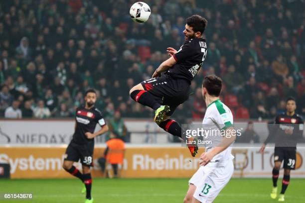 Kevin Volland of Leverkusen scores his team's first goal during the Bundesliga match between Bayer 04 Leverkusen and Werder Bremen at BayArena on...