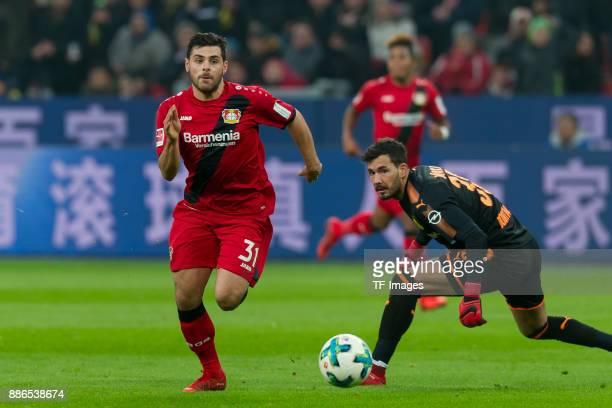 Kevin Volland of Leverkusen scores the team`s first goal during the Bundesliga match between Bayer 04 Leverkusen and Borussia Dortmund at BayArena on...