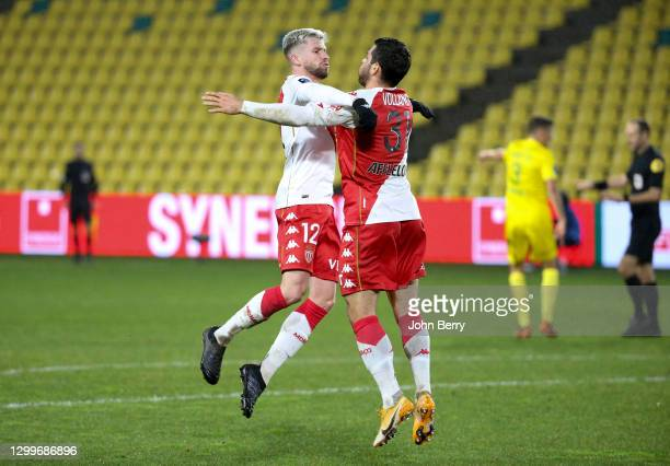 Kevin Volland of Monaco celebrates his goal with Caio Henrique during the Ligue 1 match between FC Nantes and AS Monaco at Stade de la Beaujoire on...