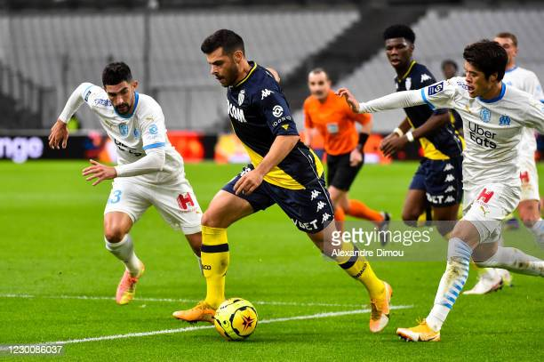 Kevin VOLLAND of Monaco during the Ligue 1 match between Olympique Marseille and AS Monaco at Stade Velodrome on December 12, 2020 in Marseille,...