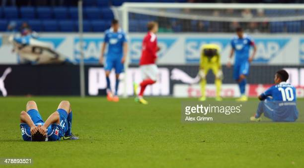 Kevin Volland Roberto Firmino and team mates of Hoffenheim react after the Bundesliga match between 1899 Hoffenheim and 1 FSV Mainz 05 at Wirsol...