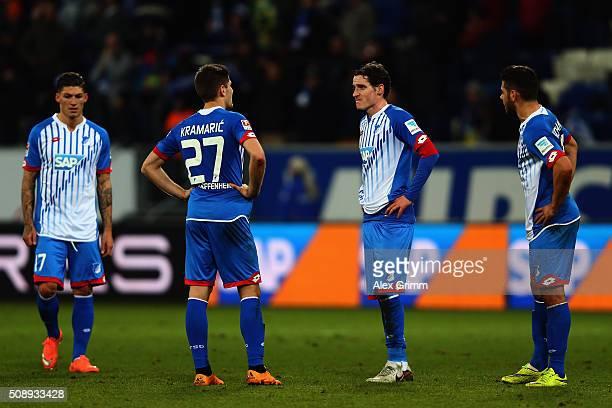 Kevin Volland Sebastian Rudy Andrej Kramaric and Steven Zuber of Hoffenheim react after the Bundesliga match between 1899 Hoffenheim and SV Darmstadt...